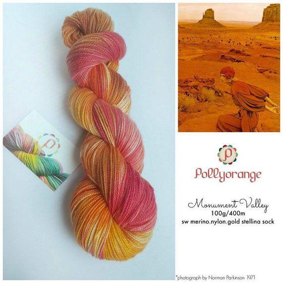 Monument valley hand dyed 100g sw merino nylon by Pollyorange
