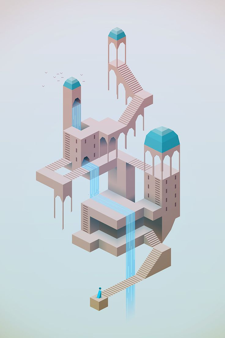 This is the first piece of art created for Monument Valley in Photoshop. It served as both the pitch and as the game design document. It was inspired by one piece of art. That piece is ascending and descending by MC Escher. http://en.wikipedia.org/wiki/Ascending_and_Descending