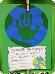 Earth Day:  my Earth Day promise... love the hand print in the center!