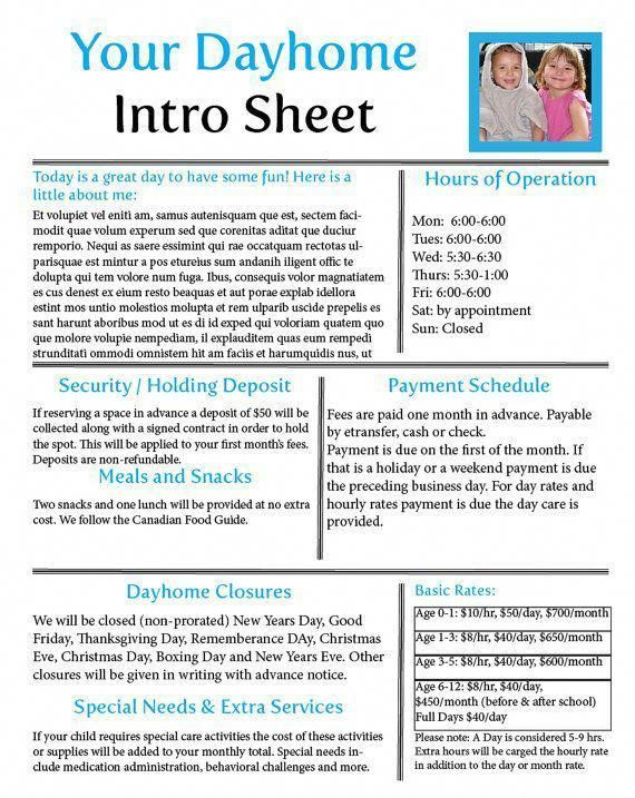 Your time is better spent playing with the children in your care - client information sheet template