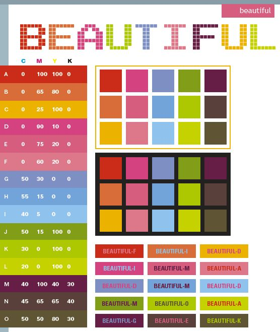 Beautiful Color Schemes Combinations Palettes For Print CMYK And Web RGB HTML