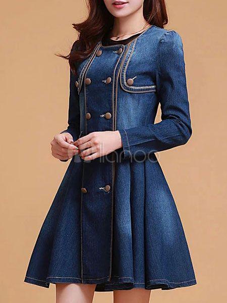 Blue Denim Vintage Dress - Milanoo.com