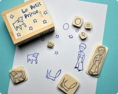 Petit Prince hand carevd rubber stamps set by Memi The Rainbow, via Flickr