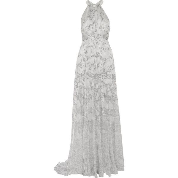 Matthew Williamson Printed silk-chiffon gown (€325) ❤ liked on Polyvore featuring dresses, gowns, long dresses, matthew williamson, light gray, long evening dresses, long gown, loose fitting dresses, long loose dresses and racerback dress