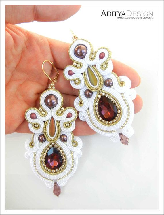 Bridal Jewelry Soutache Earrings Purple White by AdityaDesign