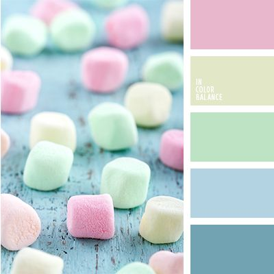 Marshmallow colors - pink, green, blue and yellow.  Color inspiration for design, wedding or outfit. Moore color pallets on color.romanuke.com.