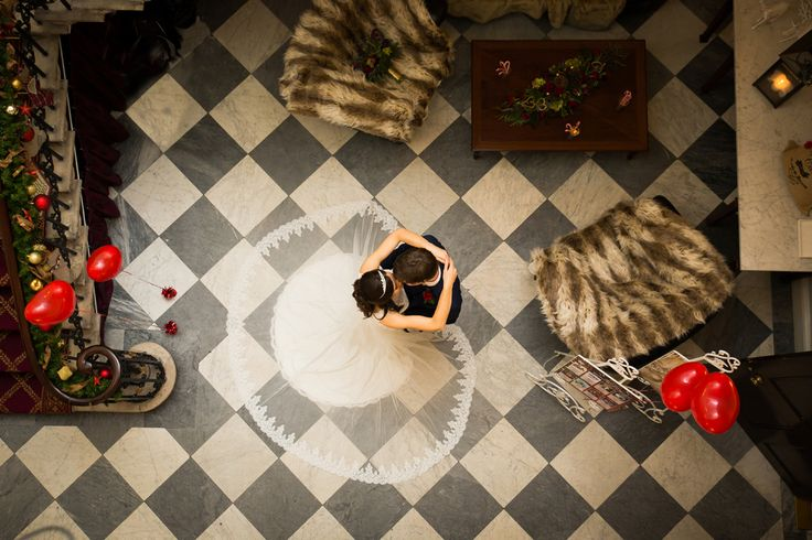 Aerial shot. Our Christmas Wedding Chandos House, London
