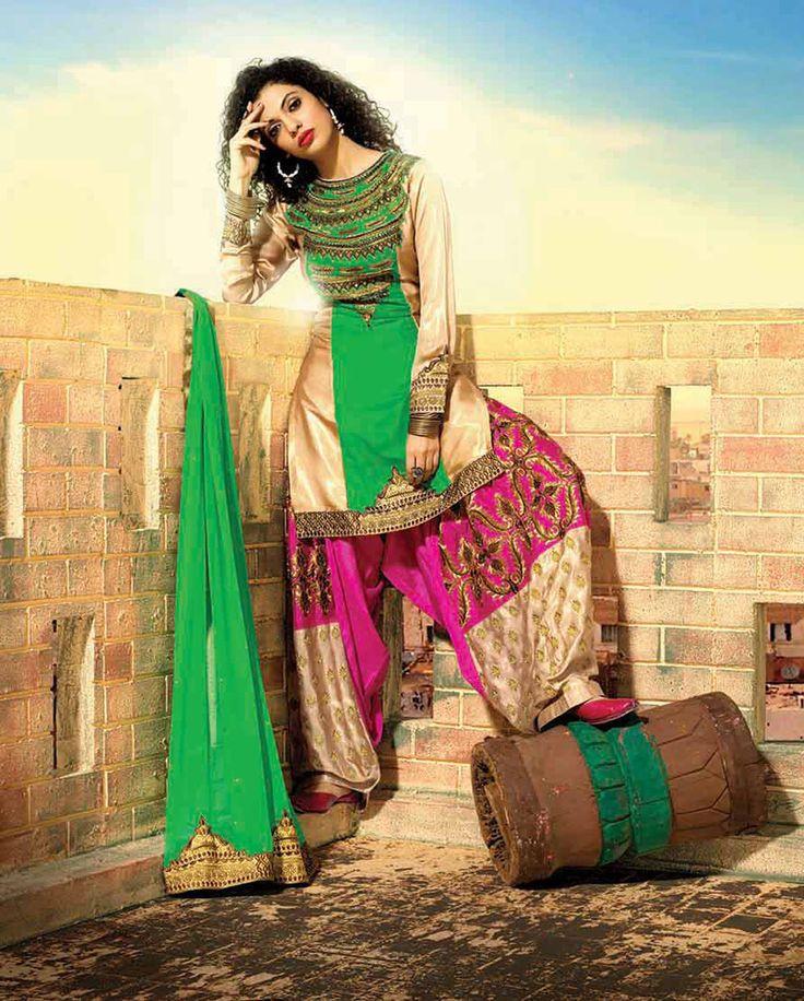 Green Georgette Punjabi Suit 61131