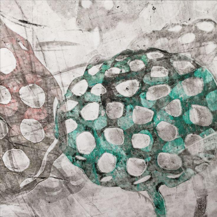 Gelli print with lotus flower stencil.