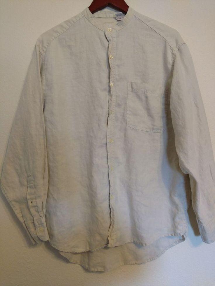 GAP Mens Size M Oversized 100% Linen Button Shirt Manderine Collar PERFECT #Gap #ButtonDownShirt