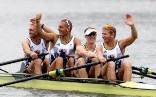 Train like an Olympic champion: Alex Gregory, Mohamed Sbihi, George Nash and Constantine Louloudis, of Britain, wave after winning gold in the men's rowing four final during the 2016 Summer Olympics