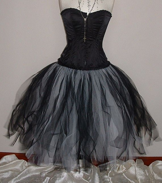 black white skirt tutu RAGGED lined 3 layers net by darkestdreams, $70.00