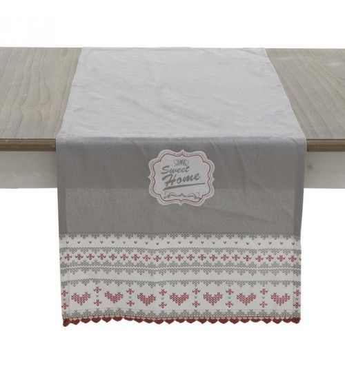 FABRIC TABLE RUNNER IN GREY_RED DESIGN 40X140