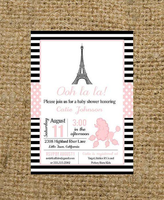 Oh la la paris party theme invitation parisian baby for Dots and stripes party theme