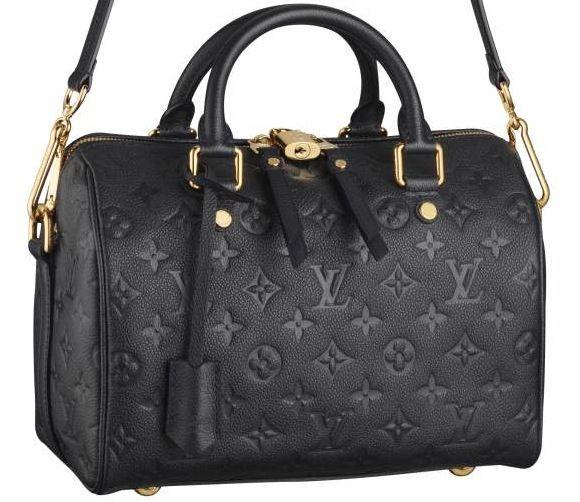 It looks black, but it's actually dark navy. I heart mine. <3 LV Monogram Empreinte Speedy 25 Bandouliere Infini