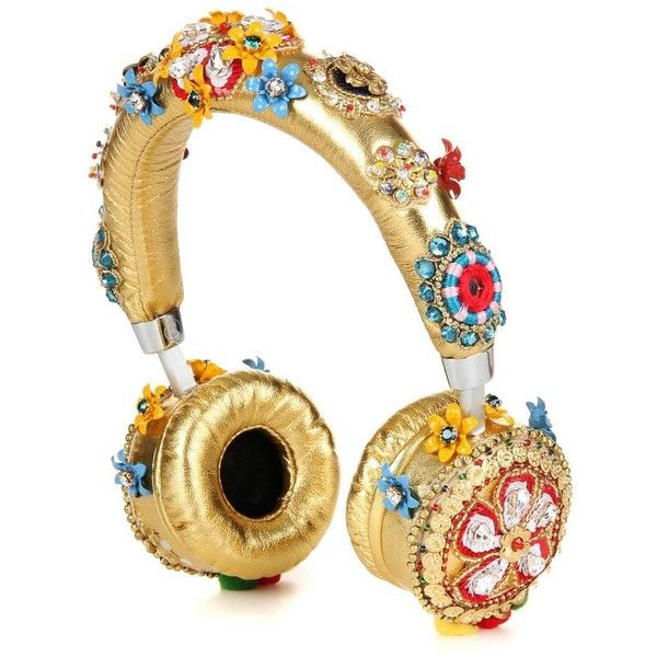 Dolce & Gabbana Embellished Metallic Leather Headphones (€5.945) ❤ liked on Polyvore featuring accessories, tech accessories, fillers, decor, headphones, jewelry, gold, leather headphones, metallic headphones and dolce gabbana headphones