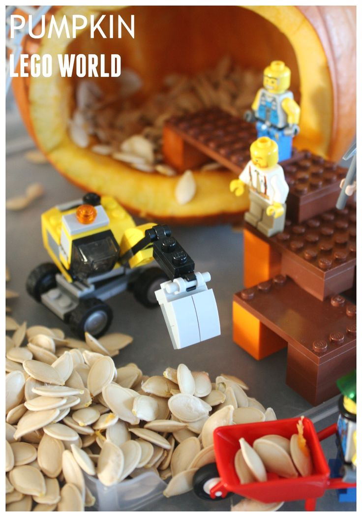 LEGO Pumpkin Play World Fall STEM. Great pumpkin play activity for Fall, Halloween or Thanksgiving. Use LEGO bricks and minifigures to create a pumpkin small world for engineering and tactile sensory play.