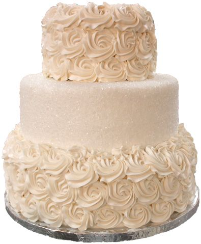 3 Tier ivory buttercream wedding cake, with top & bottom tiers covered in rosettes & middle tier covered in sugar crystals.     – Buttercream Wedding Cakes York PA –
