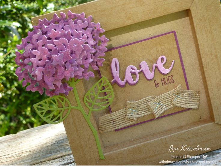 paper box frame with hydrangea using Stampin' Up Thoughtful Branches bundle, by Lou K Only Available August 2016