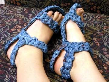Crocheted Grocery Bags Make Sensible Plarn Shoes trendhunter.com