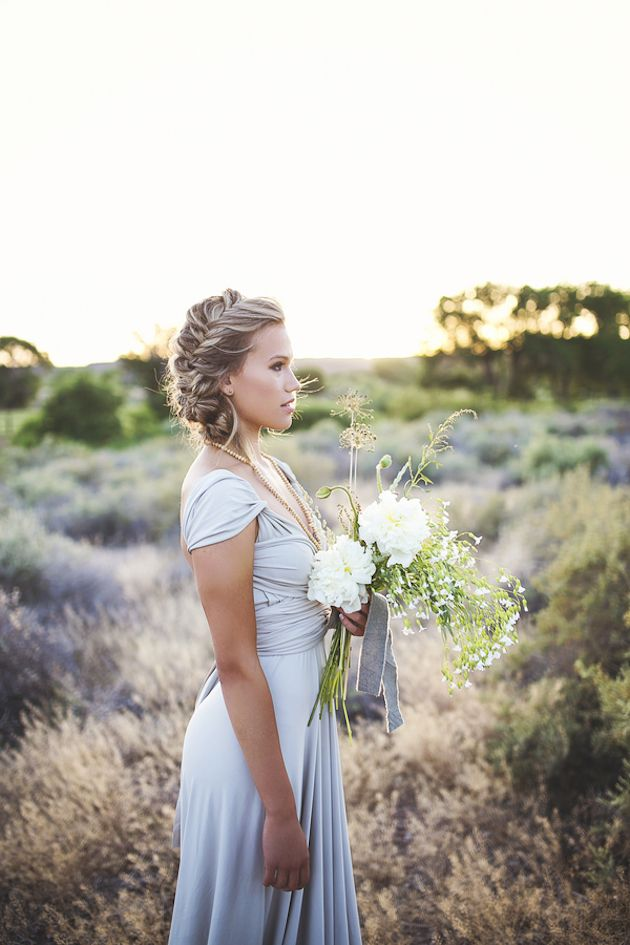 beautiful bridal/bridesmaid look and wildflower bouquet