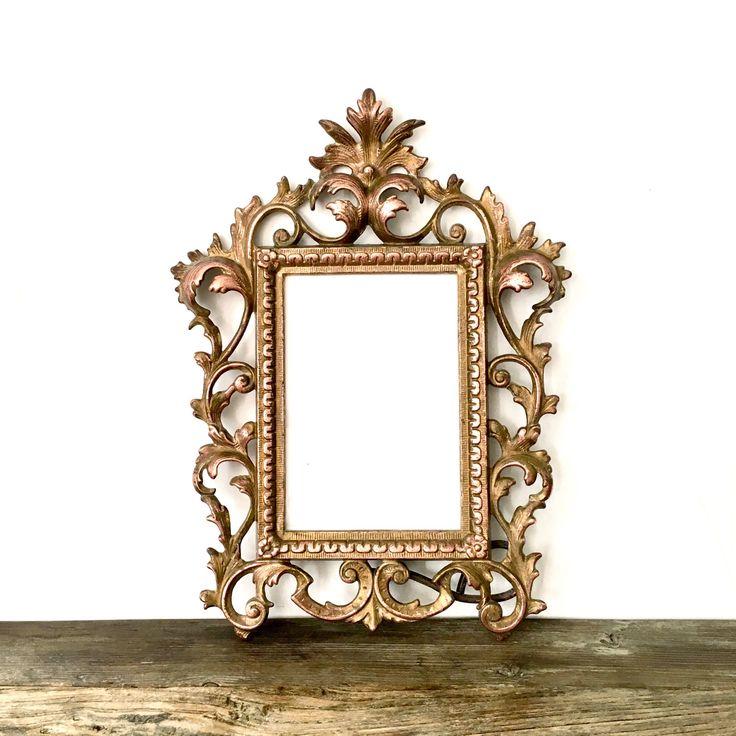 Ornate Victorian Brass Filigree Picture Frame / Hollywood Regency Decor by EllasAtticVintage on Etsy