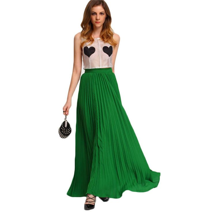 New Style 2017 Ladies Green High Waist Party Maxi Skirt //Price: $45.94 & FREE Shipping //     #hashtag1