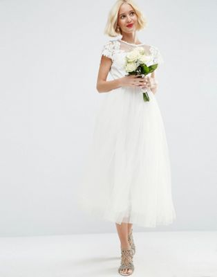 asos bridal lace applique mesh midi prom dress kleid