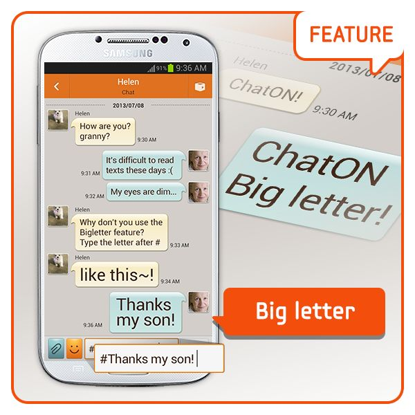 """[Feature] Big letter /  ChatMAN's actions from last week: Big Letter! Do you know """"Big Letter"""", one of the secret functions of the ChatON? Type the letters after #, and then? Typing big letters done!!  [기능소개] 큰글씨 / 지난주 챗맨의 활약 큰글씨! 챗온을 숨은 기능 큰글씨를 아시나요?  #을 누르고 글씨를 쓰면……?! 큰글씨 쓰기 완료!!!"""