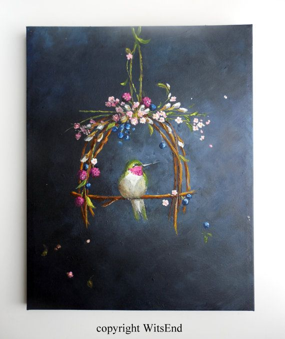 'THE GARDEN BOWER'. Bird Hummingbird painting original ooak fantasy art by 4WitsEnd, via Etsy