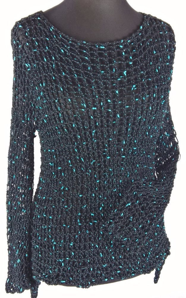 Sweter kolczuga czarna   eBay