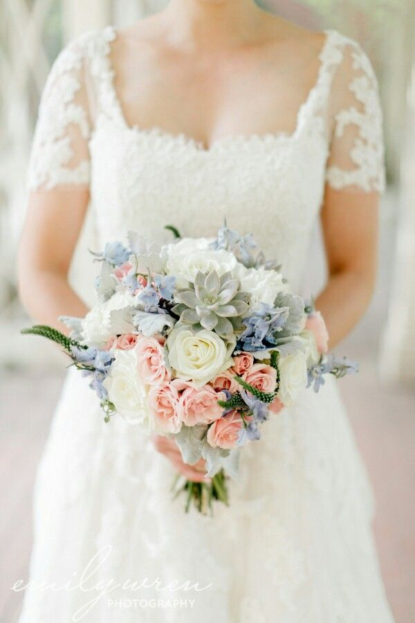 Ultra Dreamy Bridal Bouquet: White Peonies, White Roses, Pastel Pink Roses, Light Blue Delphinium, Veronica, Gray Succulents, Dusty Miller