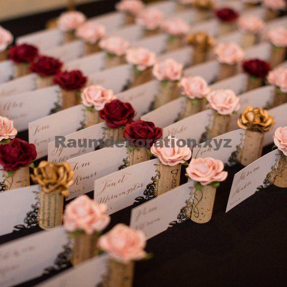 Tischdeko Hochzeit – Romantische PlaceCard-Halterhochzeit. Erröten Sie rosa Brautparty-Dekorationen. Weingut Hochzeit Dekor. Wein-Thema, das Brautdusche-Weinprobe Wedding ist