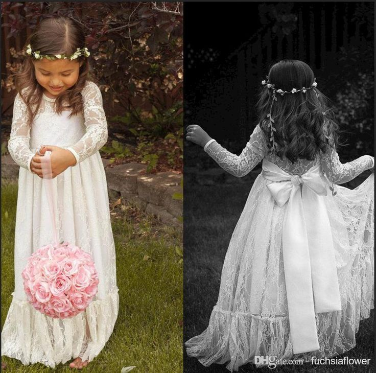Wholesale 2014 Vintage Princess A Line Lace Flower Girl Dresses Sheer Jewel Neck Long Sleeves Cute Floor Length Back Bow Cheap Hot Sale, Free shipping, $64.93/Piece | DHgate Mobile