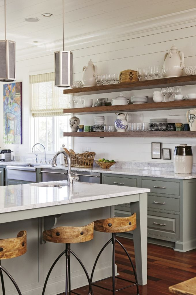 Long Wooden Planks For Open Shelving In A South Carolina Home By Cortney Bishop Design Open Kitchen Cabinetskitchen
