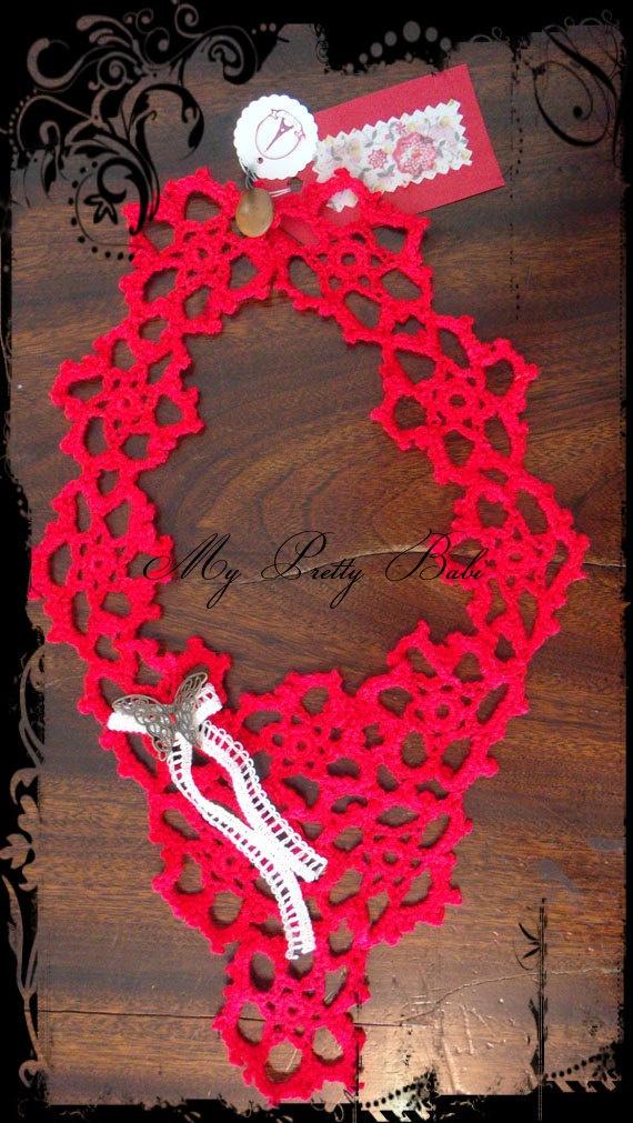 Crochet Collar Crochet Necklace Handmade Crochet by myprettybabi, $20.00