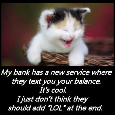 Funny Quotes-your bank account balance is $2.00 LOL! Haha does sound funny!
