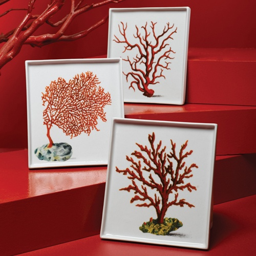 Beautiful French Artist Red Coral Porcelain Money Trays
