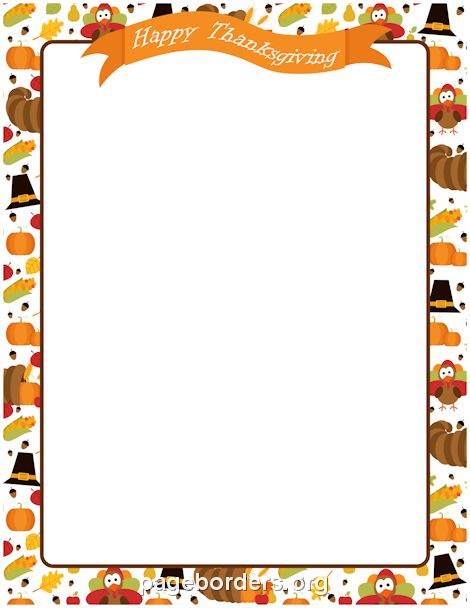 Printable Happy Thanksgiving border. Use the border in Microsoft Word or other programs for creating flyers, invitations, and other printables. Free GIF, JPG, PDF, and PNG downloads at http://pageborders.org/download/happy-thanksgiving-border/