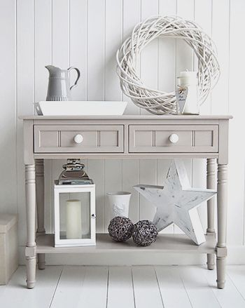 Console tables for hall and living room furniture in grey, white and cream. The Oxford grey console table large console table with drawers and shelf