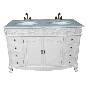 Antique White Shabby Chic French Bathroom Double Vanity