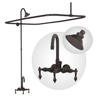 Clawfoot bathtub faucet with shower enclosure, bathtub wall mount, gooseneck spout by Elizabethan Classics