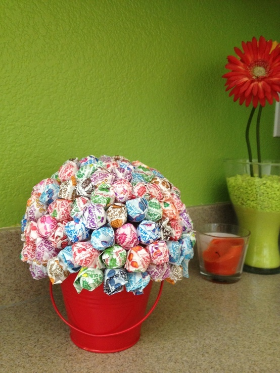 This is just a small pail, some styrofoam inside and a ton of DumDum's...or you could use BlowPops. Great gift for teacher...