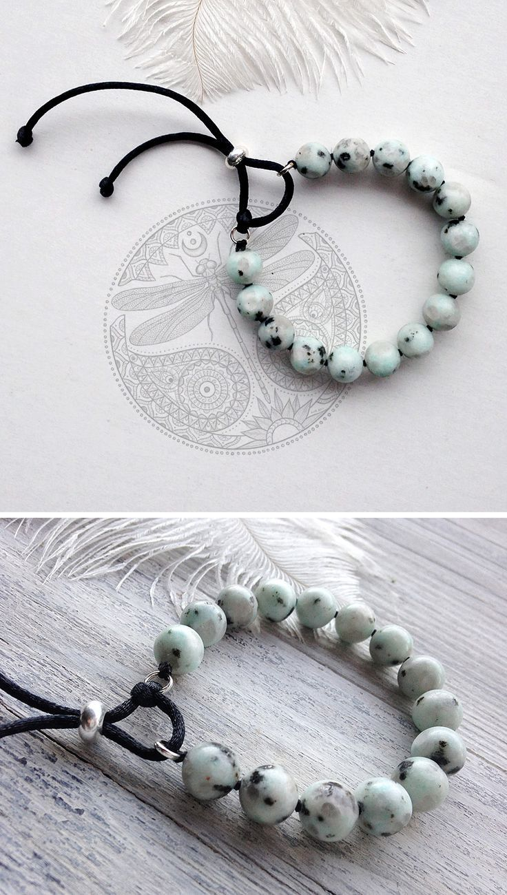A lovely soft knotted jasper bracelet. It is gentle spotty light blue-green lotus jasper. Jasper is the only stone that removes all negative energy potential, which has already been accumulated by the body.  The length of the bracelet is fitted with adjustable slider clasp bead. Pull one end of your cord through to adjust bracelet to your wrist. The center of the slider bead has a silicone grommet that will securely hold two ends of cord.