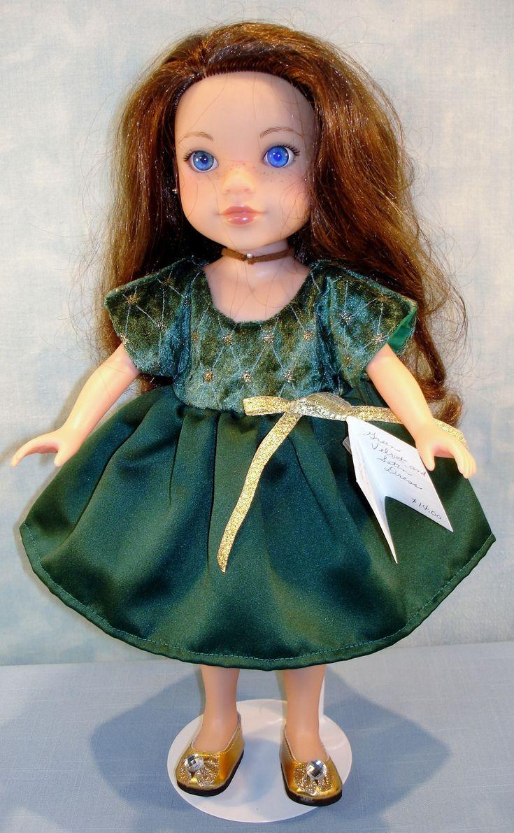 14 Inch Doll Clothes - Dark Green Velvet and Satin Dress handmade by Jane Ellen by JaneEllen2 on Etsy