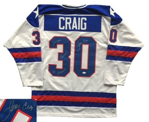 Jim Craig Signed Miracle On Ice Olympic Hockey Jersey Do You Believe In Miracles JSA - 100% Authentic Autograph