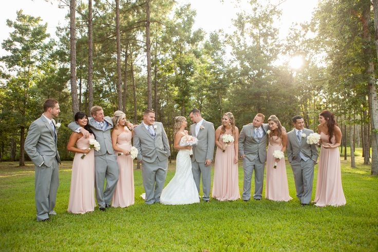 pale pink/peach and grey are great color combos for a wedding - thereddirtbride.com - see more of this wedding here