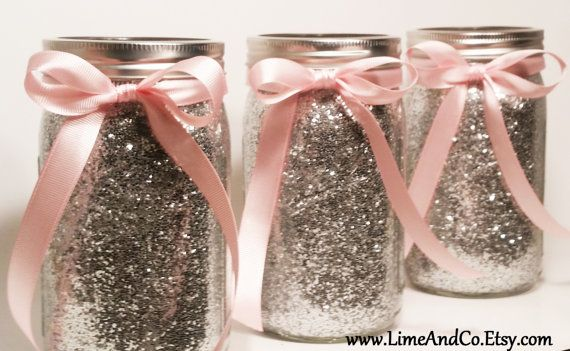 Wedding Centerpiece  Silver and Pink Centerpieces by LimeAndCo