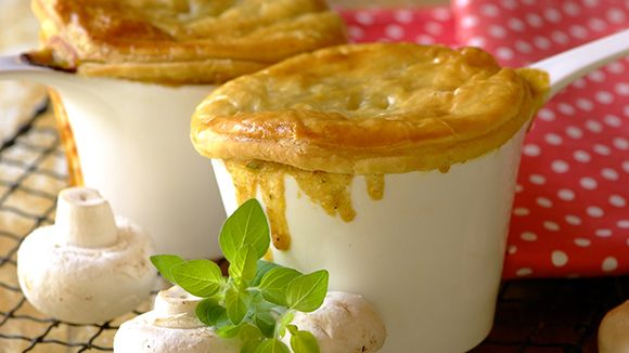 These comforting vegetarian pies will make a substantial main meal when served with some creamy mashed potato or on a warmer evening, a fresh green salad!