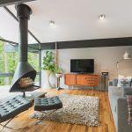 Mid century modern fireplace living room midcentury with midcentury media cabinet indoor outdoor